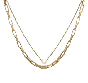"Gold Chain & Pearl Drop Layered 17""-19"" Necklace"