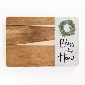 Bless This Home Wood & Marble Cutting Board