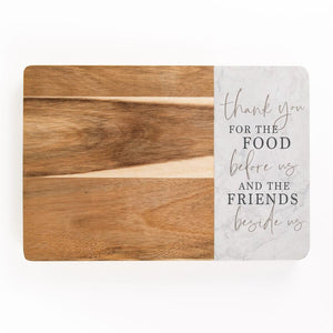 Thank You Food And Friends Marble And Wood Cutting Board