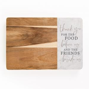 Thank You Food & Friends Wood & Marble Cutting Board