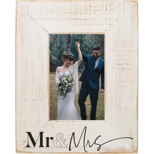 Mr & Mrs Distressed Wood Photo Frame, Off White