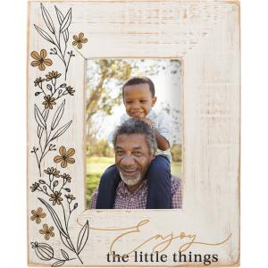 Enjoy The Little Things Distressed Whitewash Wood Photo Frame