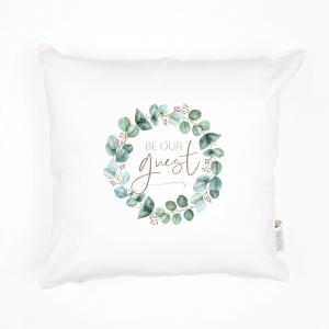 Be Our Guest Sentiment Pillow, White