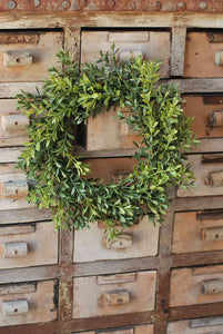 "New England Boxwood 12"" Candle Ring/Wreath"