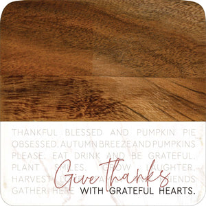 Give Thanks Grateful Heart Marble/Wood Coaster Set