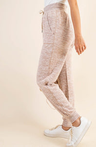 Soft Brushed Knit Lounge Jogger Pants, Blush