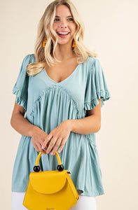 Give Me The Scoop Ruffle Bell Sleeve Jersey Top, Seafoam