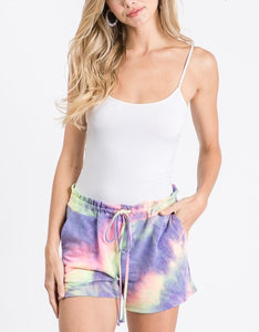 Tie Dye Lounge Shorts with Pockets, Purple/Lime Mix