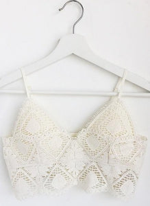 Geometric Crochet Lace Bralette, Off White