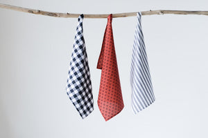 Set of 3 Tea Towels, Buffalo Check/Bee/Stripe