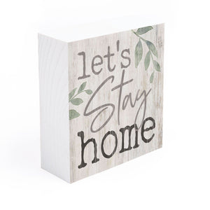 Let's Stay Home Solid Wood Word Block