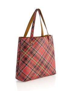 Holly Reversible Plaid Tote, Mustard
