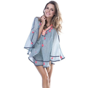 Rada Boho Poncho Cover-Up, Sky