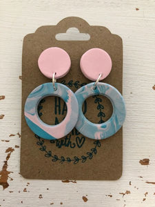 Cotton Candy Marble Clay Dangle Earrings