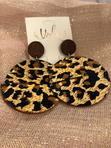 Leopard Print Wood Disc Earrings