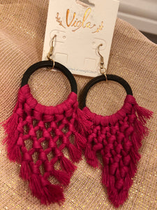 Braided Tassel and Wood Earrings