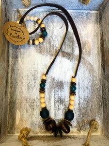 Lacole Teal, Navy, and Wood Beaded Necklace and Bracelet Set