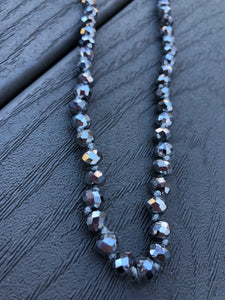 Double Wrap Beaded Necklace in Graphite
