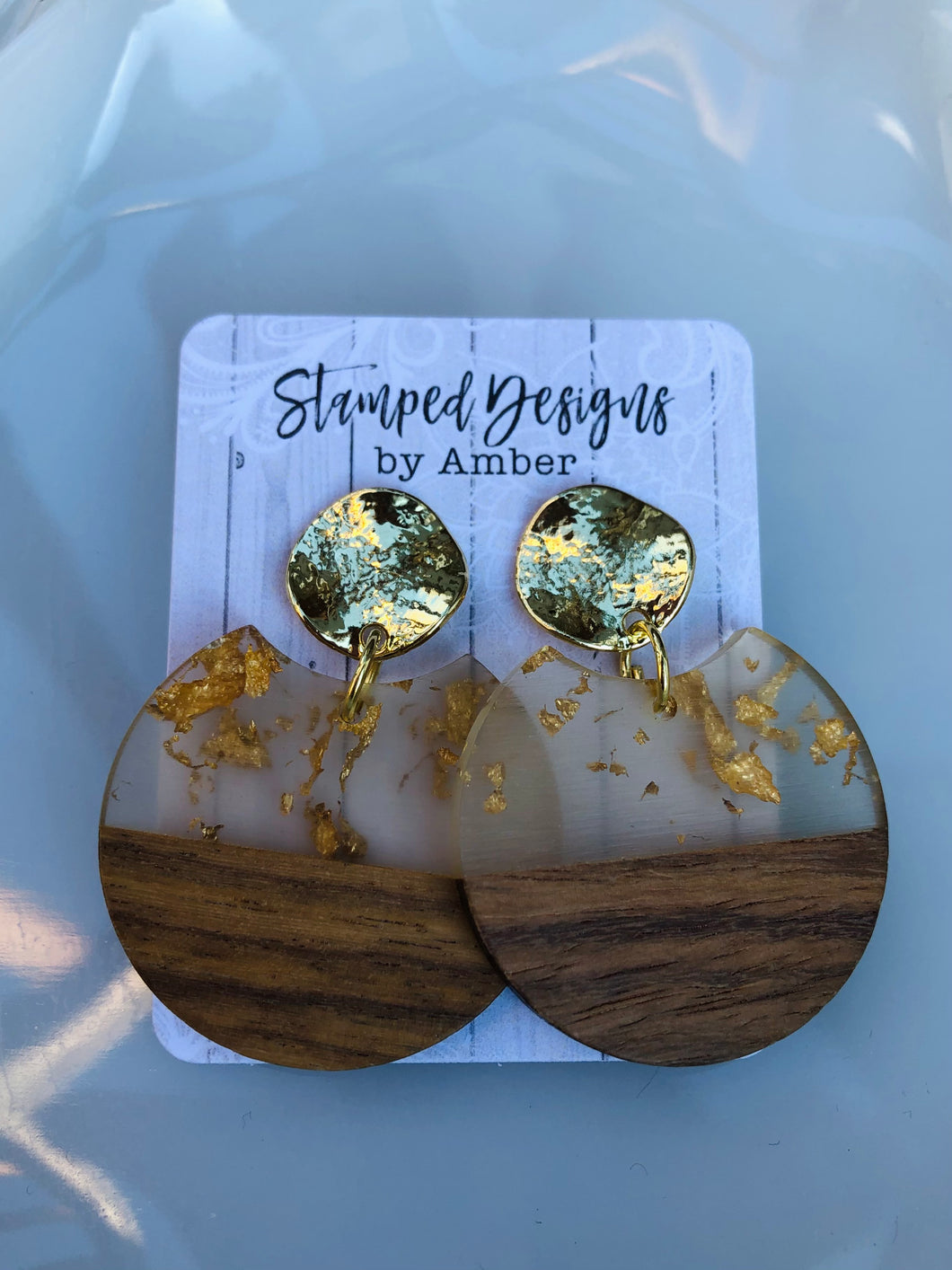 Wood Grain and Gold Flake Dangle Earrings
