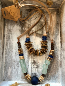Lacole Seaglass and Wood Necklace