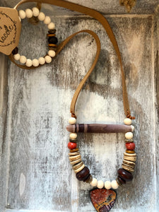 Lacole Wood Beaded Necklace with Charm