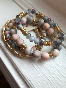 Rose Howlite Beaded Bracelet Set of 4