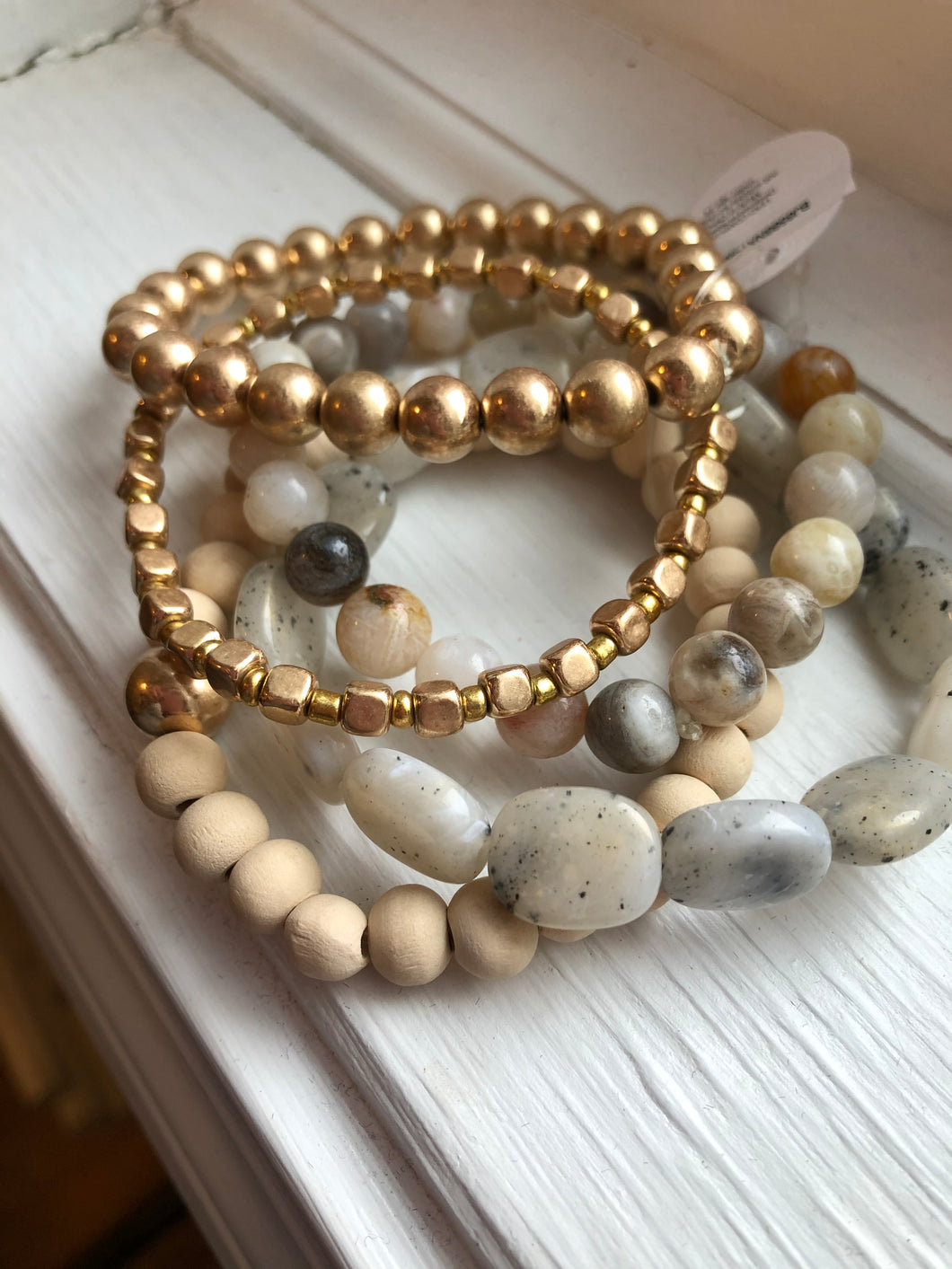 Multi Natural Stone and Beaded Bracelet Stack of 5