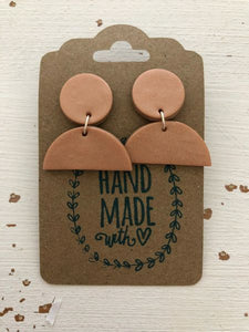 Rose Gold Clay Dangle Earrings