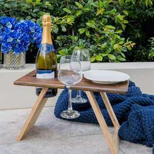 Petite Folding Wine Table - Chocolate