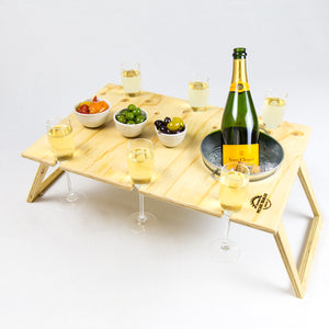 Banquet Natural Folding Picnic Table with ice bucket