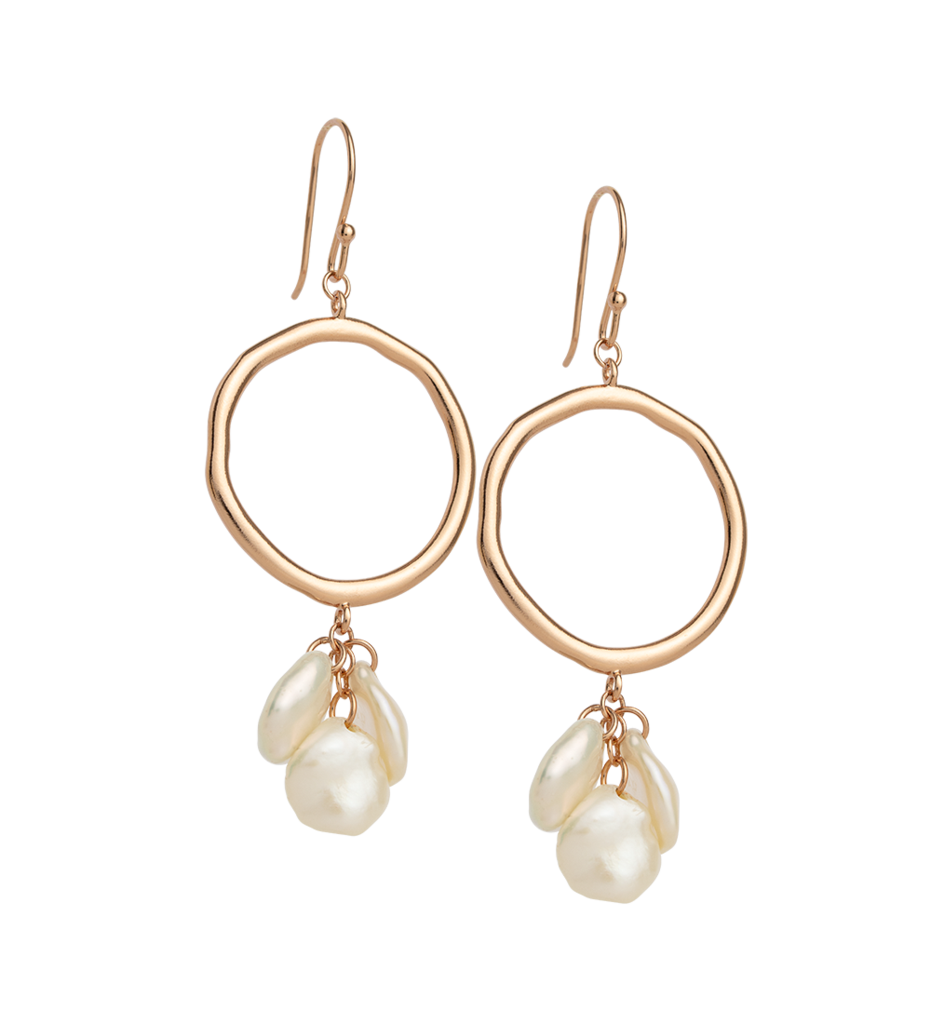 KIRSTIN ASH Cluster Pearl Earring - 18K Rose Gold Plated