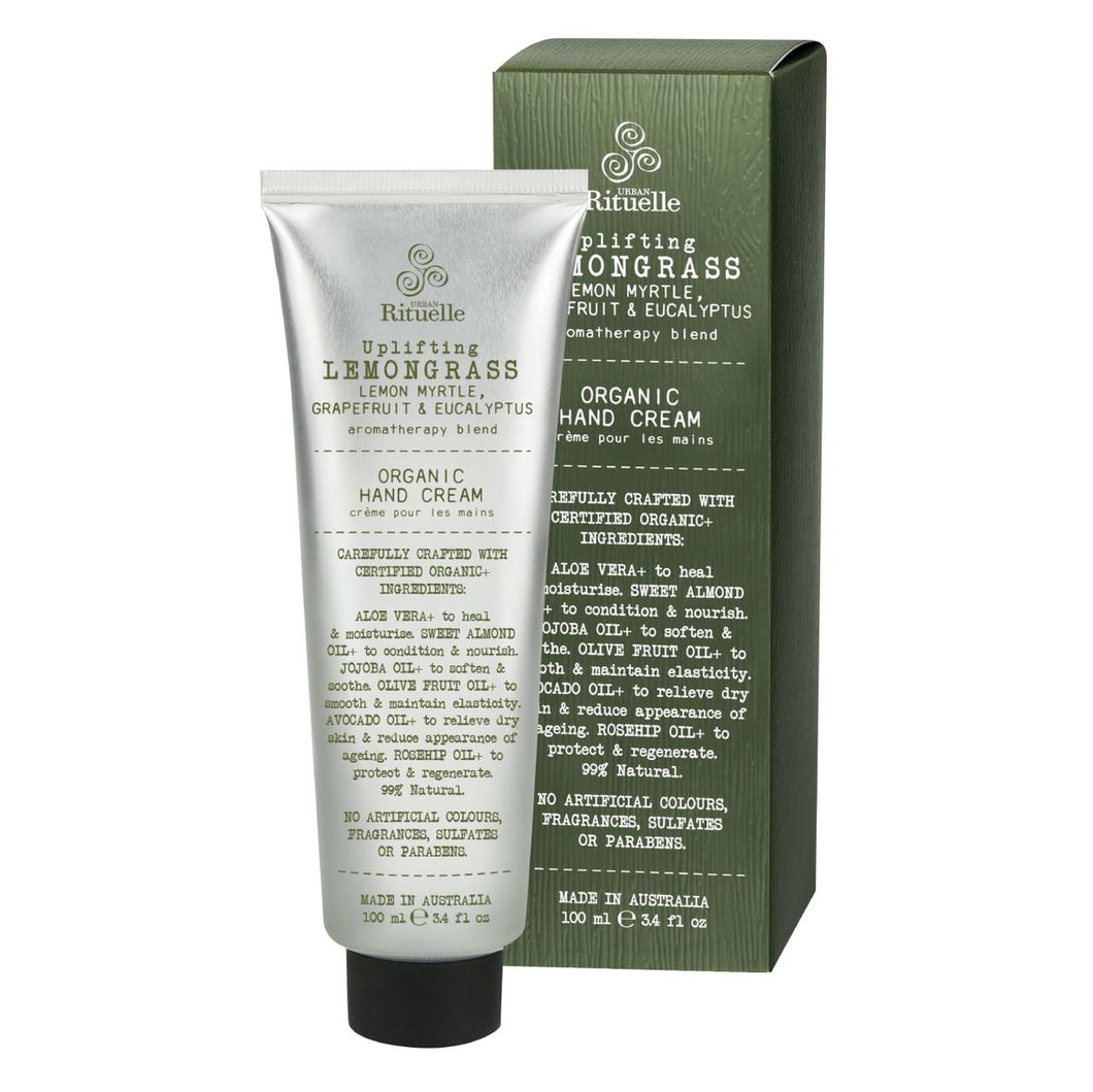 Urban Rituelle Organic Handcream - Lemongrass, Lemon Myrtle, Grapefruit & Eucalyptus