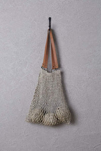 Jute String bag with tan handles