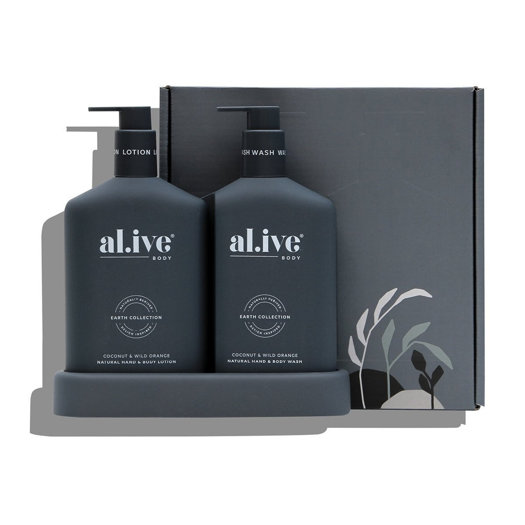 Al.ive Body WASH & LOTION Duo + Tray  - Coconut + Wild Orange