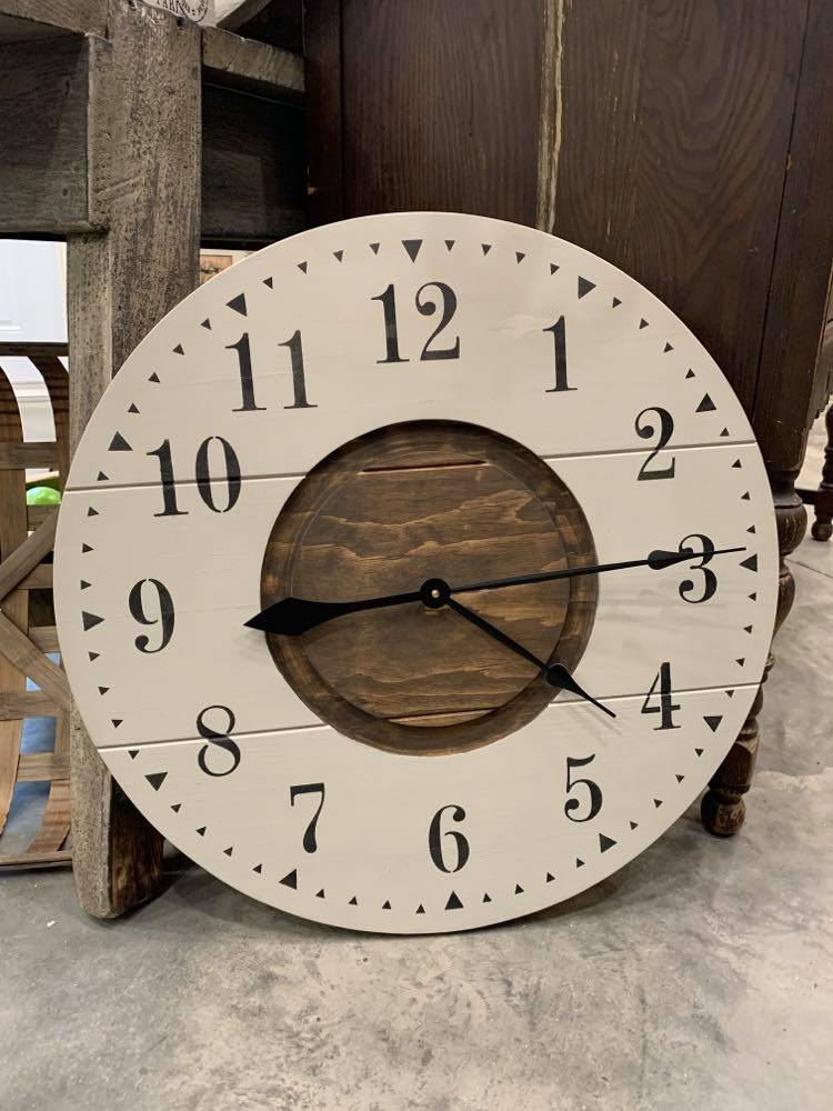 CLOCK FARMHOUSE STYLE TWO TONED