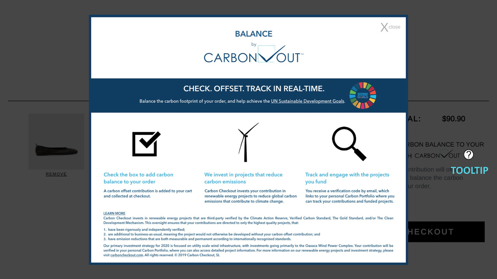 Information page of Carbon Checkout which shows up to the users clicking on the question mark next to the call to donate