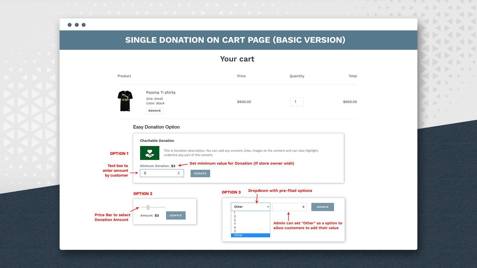 Example of how Easy Donation can be integrated at the checkout through a dropdown menu, a selector bar or a written amount