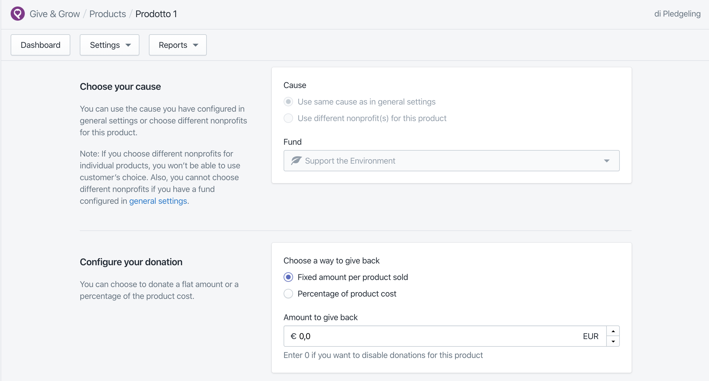 Admin panel of the Shopify App Give&Grow showing how to pick a cause and the different options for donating