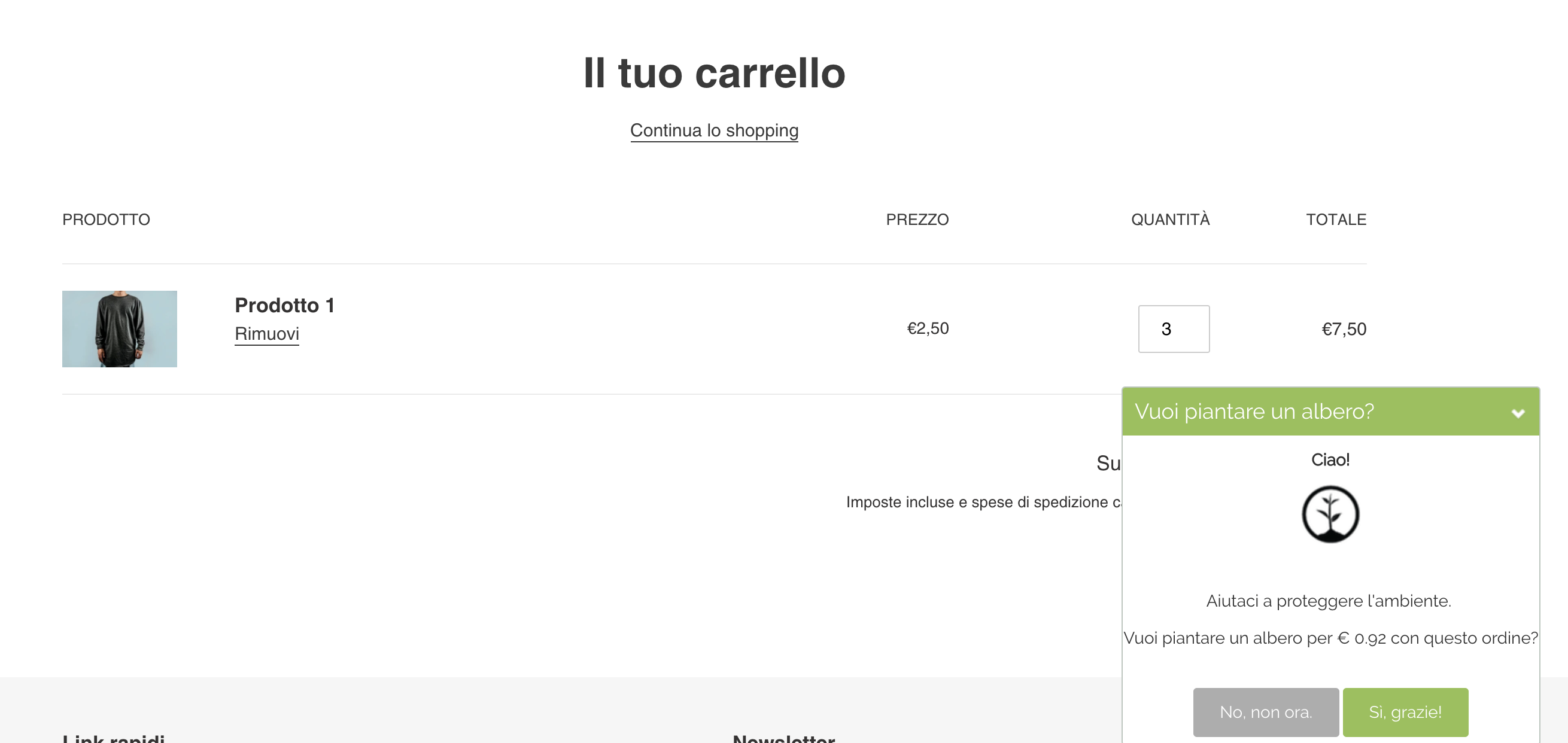 Esempio di come One Tree Planted sia profondamente integrata al checkout Shopify, con una finestra molto personalizzata