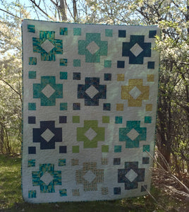 Diamond Lantern Quilt Kit Teal/Blue