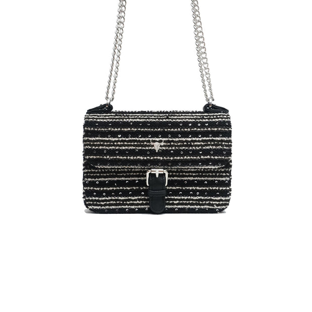 SAC XS OLIVIA - TWEED NOIR PAILLETÉ