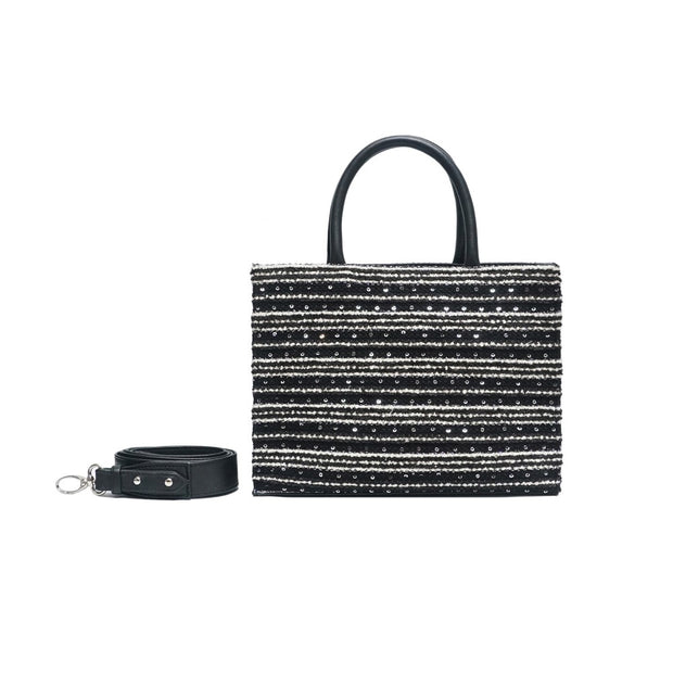 SAC MINI CHARLIE - TWEED NOIR PAILLETÉ
