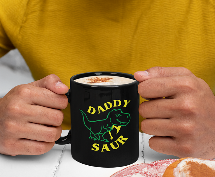 Fathers Day Daddy Saur Black Mug