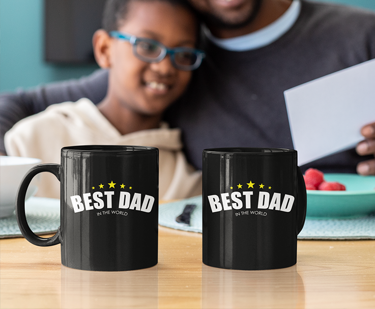 Best Dad in The World Black Mug