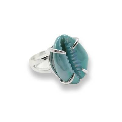 Bague Cauri Turquoise | Afro Nation