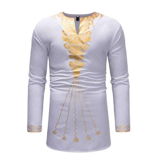 Dashiki Homme Blanc Long