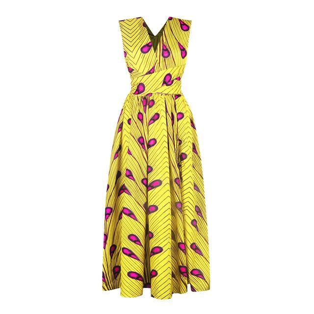 Robe Africaine Chic Jaune et Rose | Afro Nation