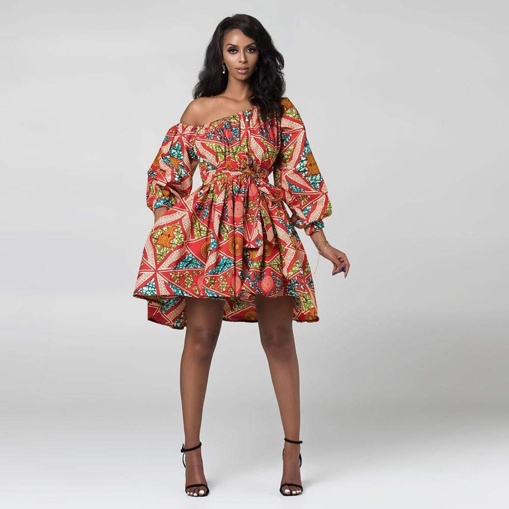 Robe Africaine Courte Couleur Vive | Afro Nation