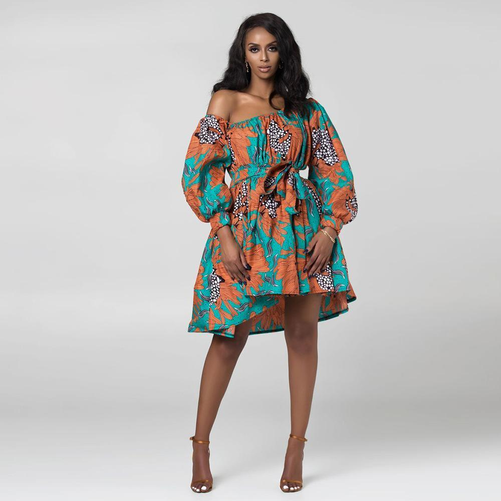 Robe Africaine Courte imprimé Orange | Afro Nation