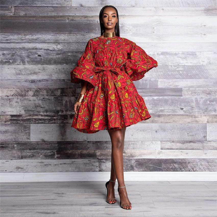 Robe Africaine Courte Moderne Rouge | Afro Nation